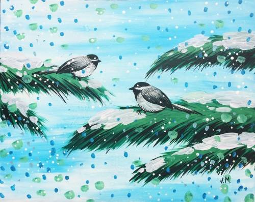 A Little birds on snowy day paint nite project by Yaymaker