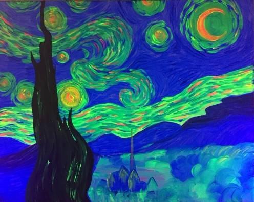 A BLACK LIGHT Starry Night paint nite project by Yaymaker