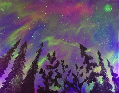 A BLACK LIGHT In To The Sky paint nite project by Yaymaker