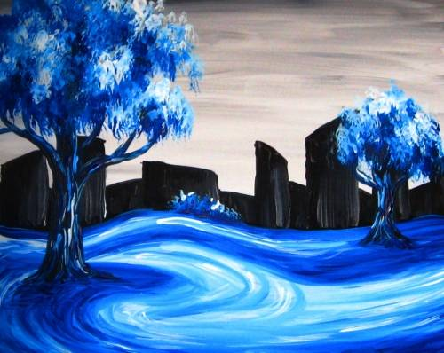 A Snowy City Park paint nite project by Yaymaker