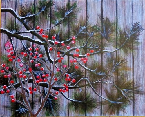 A Barn Board Berries  Evergreens in Winter paint nite project by Yaymaker