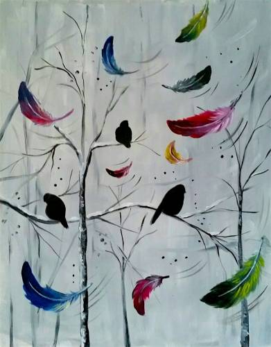 A Interrupted by colored feathers paint nite project by Yaymaker