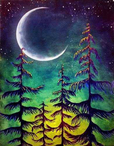 A Midnight Moonlight paint nite project by Yaymaker