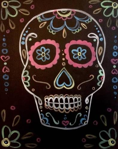 A Neon Day of the Dead Skull paint nite project by Yaymaker