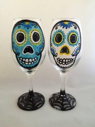 A Calavera Sugar Skull Webbed Drinkware paint nite project by Yaymaker