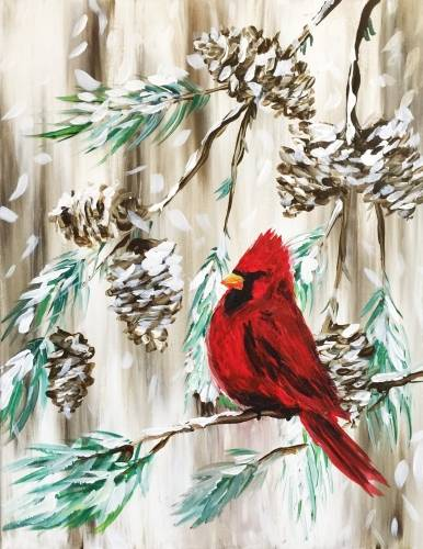A Red Cardinal in a Winter Pine paint nite project by Yaymaker