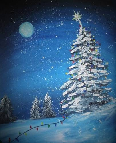 A CHRISTMAS LIGHTS UP paint nite project by Yaymaker