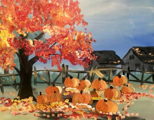 A Fall Maple Pumpkins paint nite project by Yaymaker