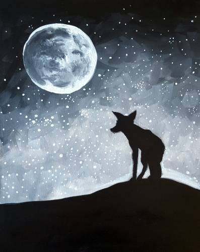 A Moonlit Fox paint nite project by Yaymaker