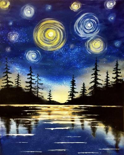 A Starry Lake paint nite project by Yaymaker