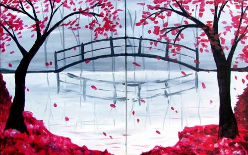 A Bridge in the Fall on 11x14 Panels paint nite project by Yaymaker