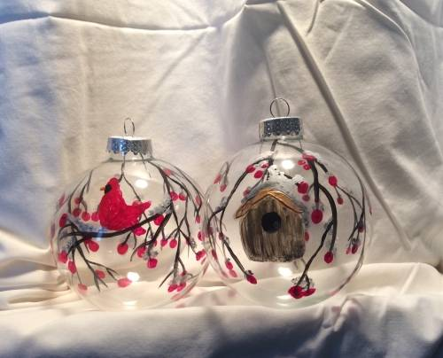 A Winter Cardinal Tree Ornaments Glassware paint nite project by Yaymaker