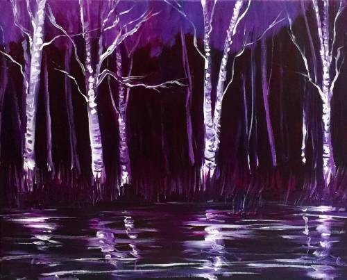 A Purple Birch Reflections paint nite project by Yaymaker