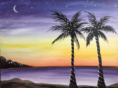 A Paradise Lights paint nite project by Yaymaker