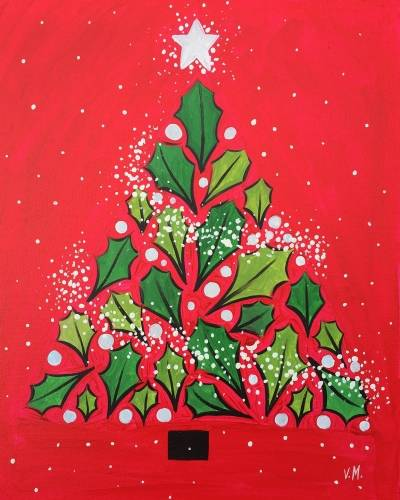 A Christmas Bliss in red and green paint nite project by Yaymaker