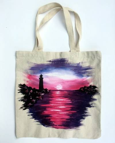 A Lighthouse Tote Bag paint nite project by Yaymaker