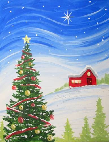 A Breezy Night Before Christmas paint nite project by Yaymaker