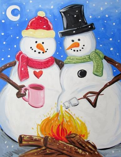 A Snowmen Keeping Warm paint nite project by Yaymaker