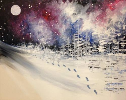 A Walking in a Cosmic Wonderland paint nite project by Yaymaker