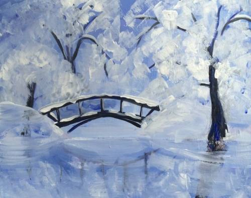 A Snowy Bridge with Reflection paint nite project by Yaymaker