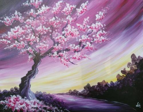 A Blossoms and a Path paint nite project by Yaymaker