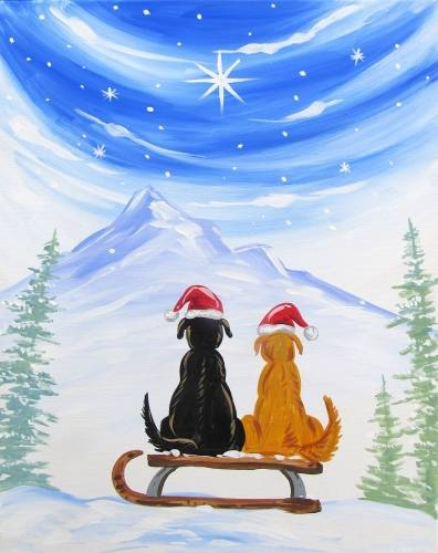 A Have a Doggy Christmas paint nite project by Yaymaker