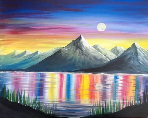 A Shimmering Alpine Lake paint nite project by Yaymaker