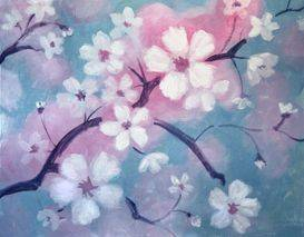 A Cherry Blossoms paint nite project by Yaymaker