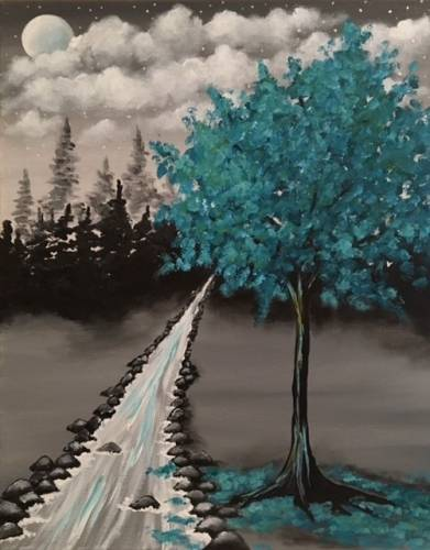 A Teal into Night paint nite project by Yaymaker
