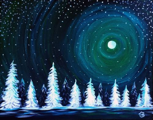 A Emerald Winter Sky paint nite project by Yaymaker