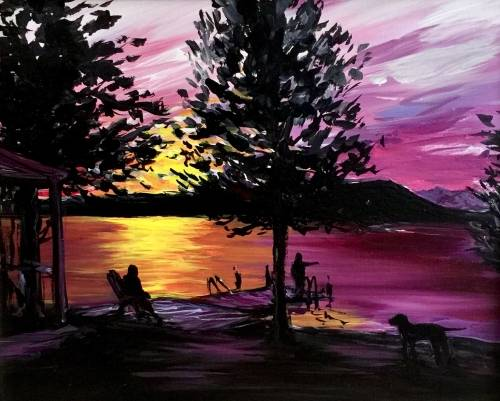 A Dockside Sunset paint nite project by Yaymaker
