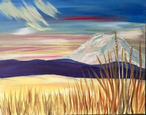 A Mt Adams Fall Sunset paint nite project by Yaymaker