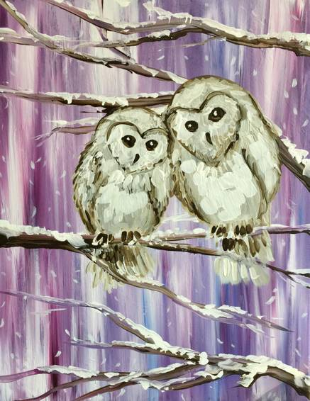 A Snowy Owl Love paint nite project by Yaymaker