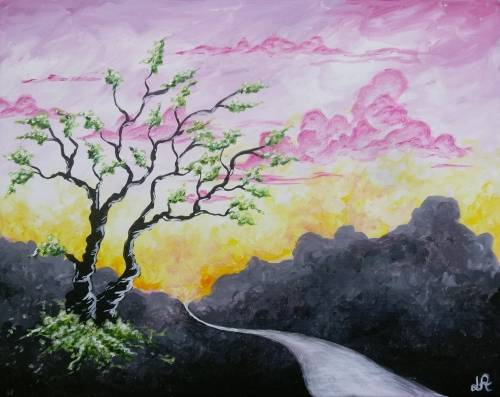 A Green Blossoms paint nite project by Yaymaker