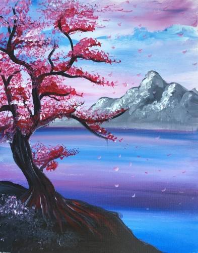 A Japanese Blossoms paint nite project by Yaymaker