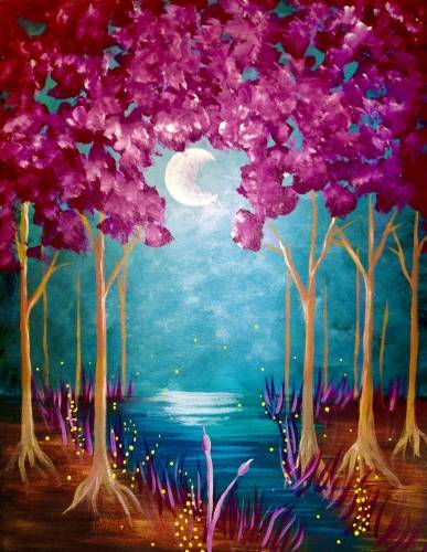 A Moonrise Forest paint nite project by Yaymaker