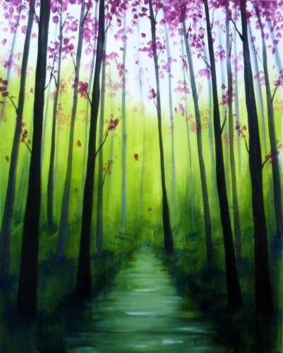 A Walk In The Forest paint nite project by Yaymaker