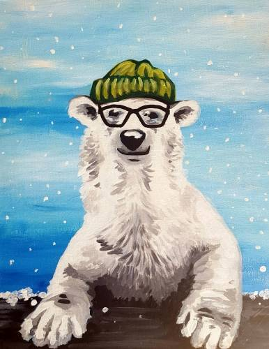 A Hipster Polar Bear paint nite project by Yaymaker