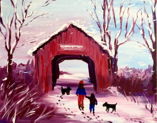 A The Covered Bridge in Winter paint nite project by Yaymaker