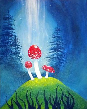 A Magical Mushrooms paint nite project by Yaymaker
