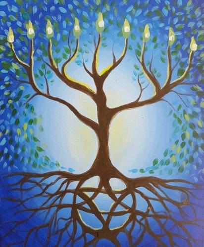 A Hanukkah Tree of Life paint nite project by Yaymaker