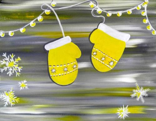 A Happy Holiday Mittens paint nite project by Yaymaker