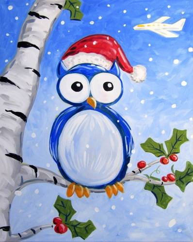 A Owl Be Home for Christmas paint nite project by Yaymaker