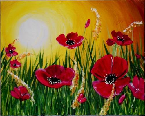 A Cathies Poppy Sunset paint nite project by Yaymaker