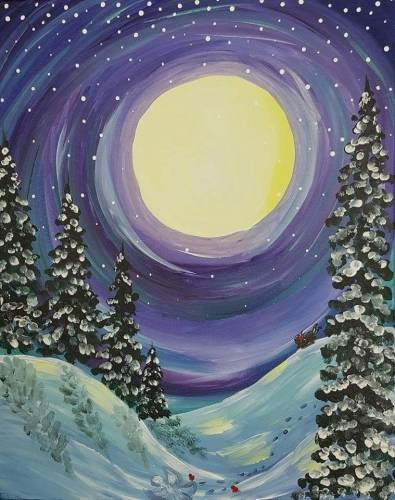 A Midnight Snow Fun paint nite project by Yaymaker
