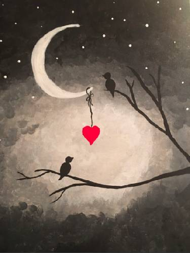 A Sweetheart Birds paint nite project by Yaymaker