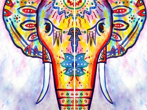 A Rainbow the Boho Elephant Partner Painting paint nite project by Yaymaker
