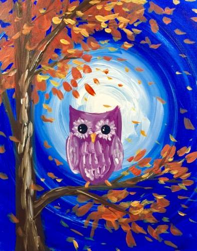 A Autumn Moonlit Owl paint nite project by Yaymaker