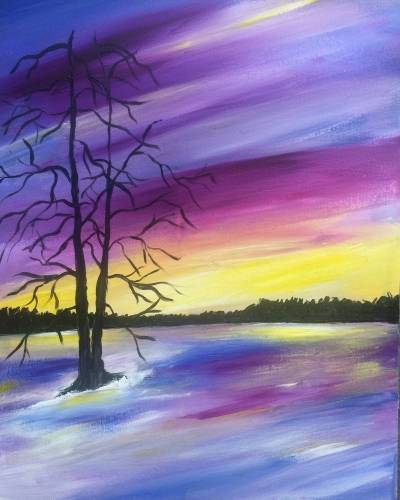 A Tree at Winter Sunset paint nite project by Yaymaker