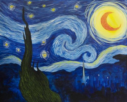 A Starry Nite II paint nite project by Yaymaker